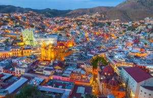 Aerial view of Guanajuato at night