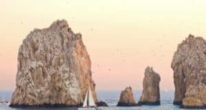 Sail boats near the Arch in Cabo San Lucas