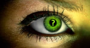 Green eye with question mark