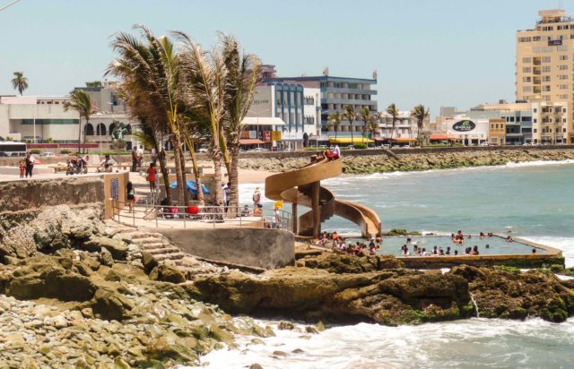 Swimming pool and slide along the Malecon