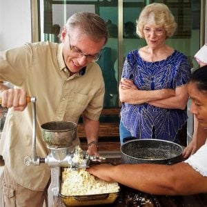 Expats In Mexico blogger Keith Paulson-Thorp making tortillas in Yucatán, Mexico