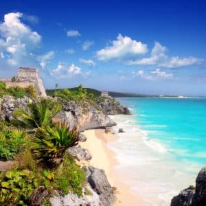 Ancient Mayan ruins temple of Tulum in Mexico