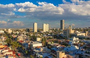 Panoramic afternoon view of the city of Guadalajara in Mexico
