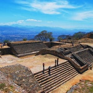 Aerial view of Monte Alban Ruins in Oaxaca, Mexico