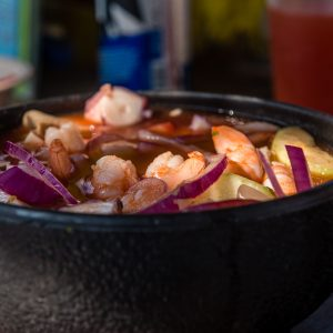 Seafood stew served in La Paz, Mexico