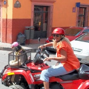 A woman on an ATV in San Miguel de Allende, Mexico