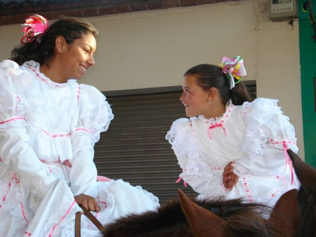 The side-saddle riders waiting for a parade in Ajijic, Mexico